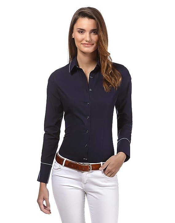 Vincenzo Boretti Camisa de Mujer, Corte Ligeramente más angosto, 100% algodón, Manga-Larga, Lisa, fácil de Planchar, Cuello Kent, Elegante y clásica