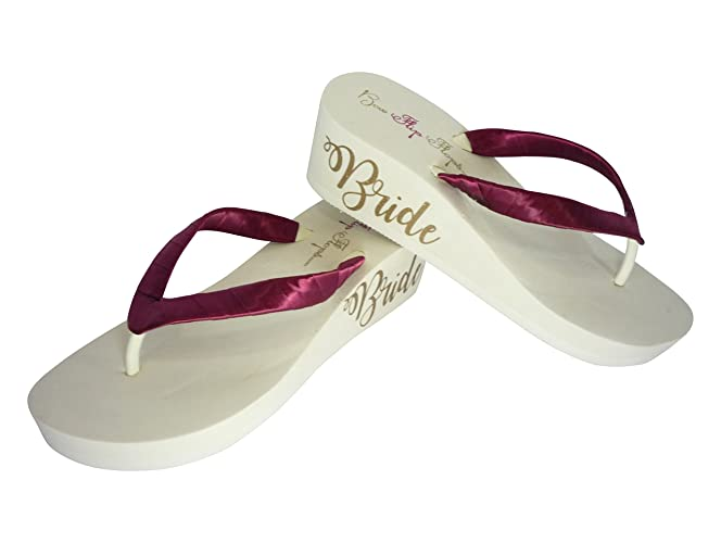 3ca5e9480 Amazon.com  You Pick Colors - Wine and Champagne Ivory - Bride Script  Lettering Wedge Heels Flip Flops  Handmade