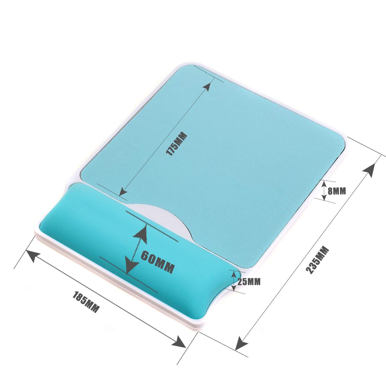 Tapis de Souris avec Repose-Poignet Ergonomique TKC5114 SkyBlue Bleu Ciel Confort Support De Repose-Poignet prot/éger Anti Fatigue TUKA Mouse Pad avec en Mousse /à m/émoire Robuste