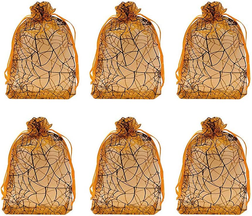 "Tvoip Organza Bags 100pcs/lot 4""x 6"" (10x15cm) Drawable Black Spider Web Packing Bags Wedding Christmas Candy Jewelry Bags & Pouches (Orange(Spidery))"