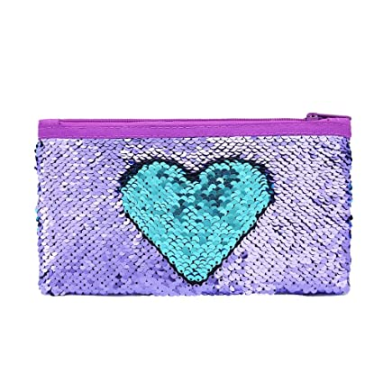f60b16c52364 Cute Kids Pencil Case Glitter Reversible Sequin Pen Pencil Pouch for Girls  Cosmetic Makeup Organizer Bag Purse for Women (Purple)