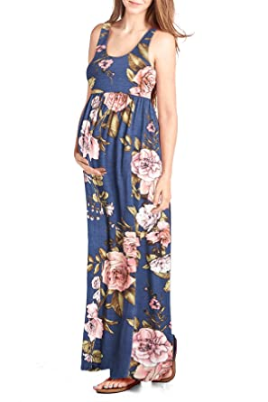 bf1f6cfea3f Beachcoco Women s Maternity Flower Printed Maxi Tank Dress Made in ...