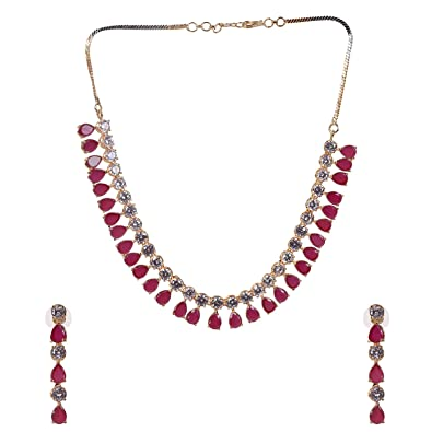 20823147e5 Buy Ratnavali Jewels American Diamond CZ Gold Plated Red Ruby Designer  Jewellery Set For Girls/Women (RV2097R) Online at Low Prices in India |  Amazon ...