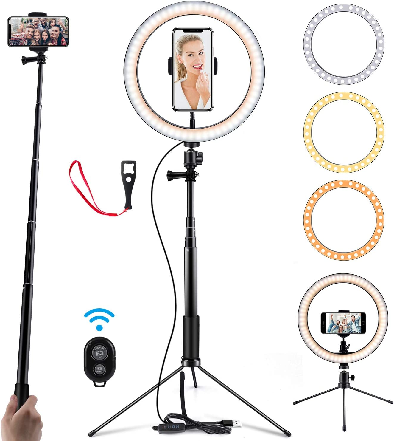 """Ring Light 10"""" Selfie Light Ring with Adjustable Bracket (14.56'' to 65'') Remote Control 3 Modes & 10 Brightness 120 Bulbs Dimmable Desktop Ringlight for YouTube Video/Live Stream/Makeup/Photography : Camera & Photo"""