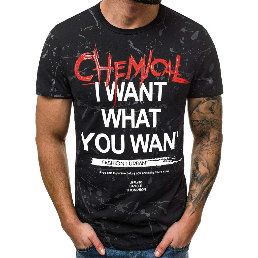 TWinmar Men's T Shirt Letter Printed Blouse Casual Short SleeveTop Slim Muscle Tee Workout Sweatshirts Vest Polos Black