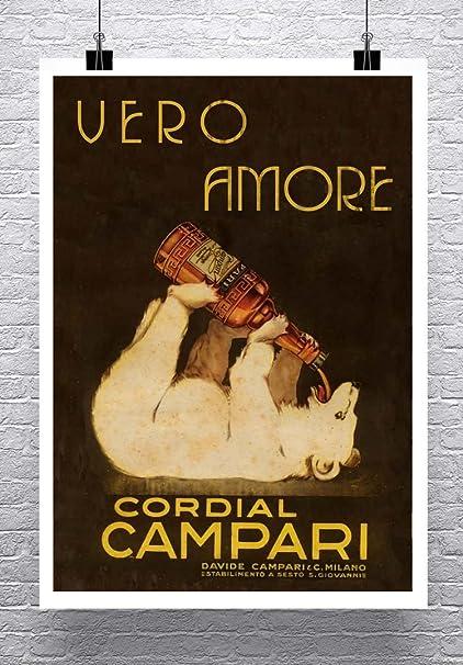 Amazon.com: Vero Amore oso Vintage italiano licor Póster de ...