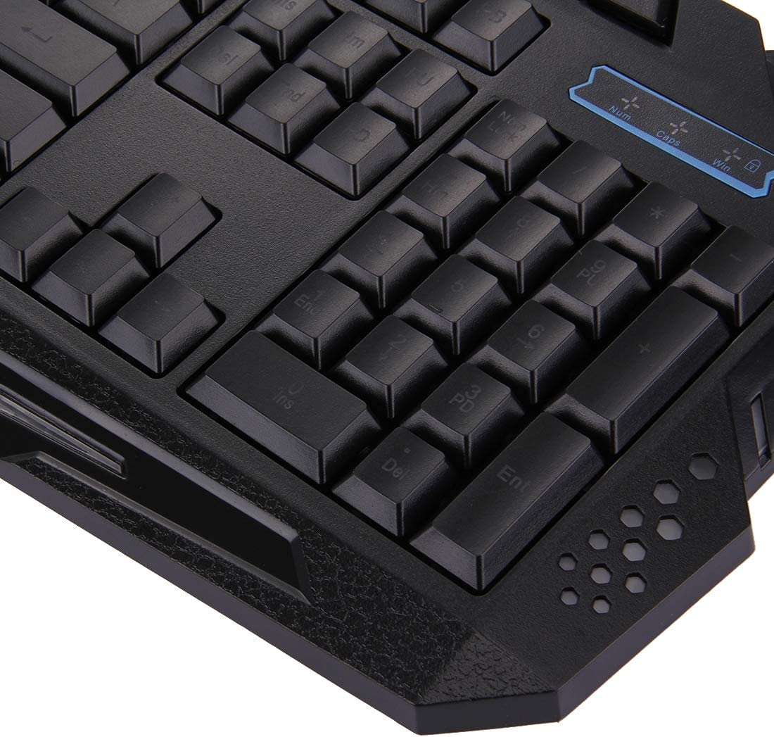 YANGJIAN M200 Multimedia USB 114 Keys Wired 3-Color Backlight Gaming Keyboard for Computer PC Laptop Color : Black Black