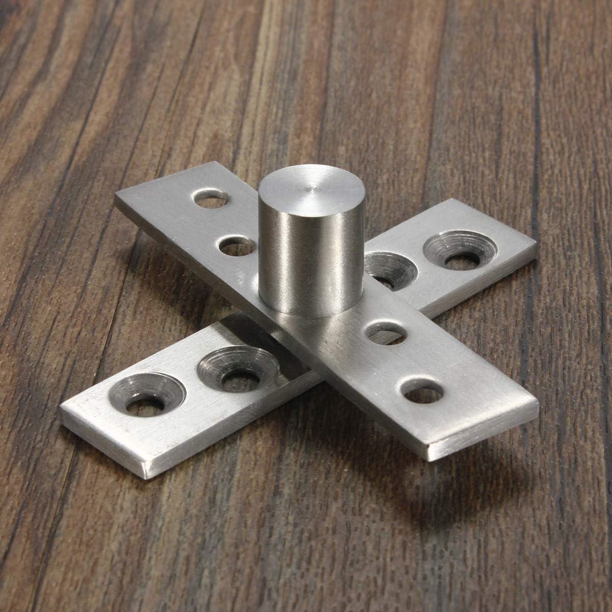 OKIl 2pcs 360 Degree Door Pivot Hinge Hardware Silver 74mm Length