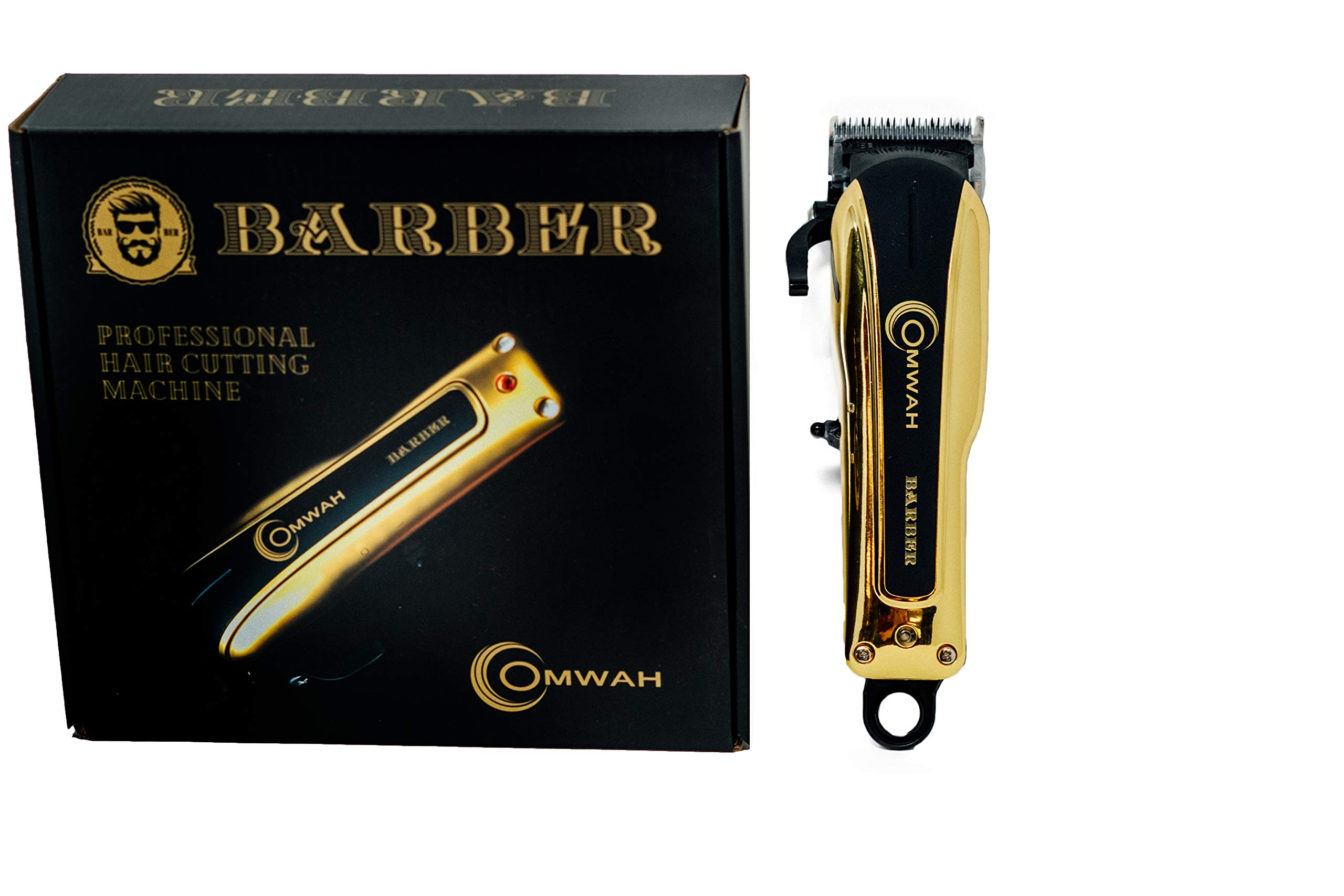 Omwah Professional High Performance Cordless Barber Hair Clipper Haircut Kit with 5 Magnetic Combs
