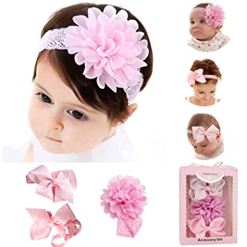 da1d66fe80871 3pcs Baby Girl Headbands With Flower,Elastic Adjustable Bows Wrap Top Knot  Head Band Turban