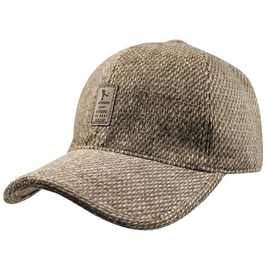a8fe963a824 Mens Winter Wool Fleece Lined Plaid Skiing Baseball Cap Hat With Fold  Earmuffs
