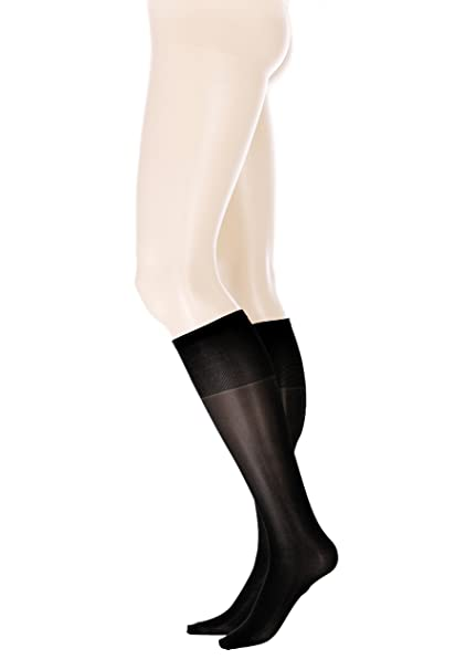 4758537a4e2 GLAMORY Fit 20 Extra Wide Knee Socks plus Size-black-One -Size at ...