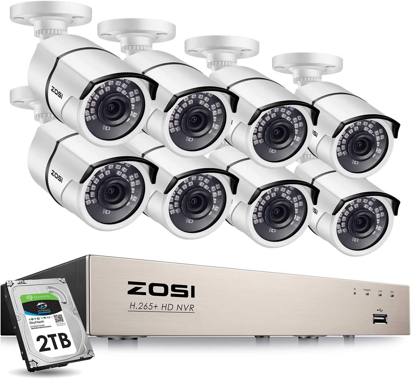 ZOSI Full HD 1080P PoE Video Security Cameras System,8CH 1080P Surveillance NVR, 8×2.0 MP Weatherproof IP Cameras, 120ft Night Vision with 2TB Hard Drive, Power Over Ethernet Renewed