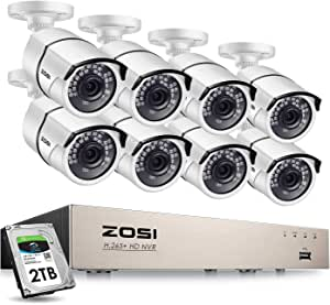 ZOSI 8CH 5MP PoE Home Security Camera System Outdoor with 2TB Hard Drvie,H.265+ 8CH 5MP NVR Recorder,8pcs 5MP Outdoor Indoor PoE IP Cameras with 120ft Night Vision,Power Over Ethernet (5MP Cams)