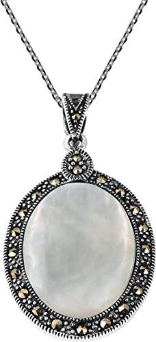 """Womens 925 Sterling Silver Oval Mother Pearl Oxidized1/"""" Pendant"""