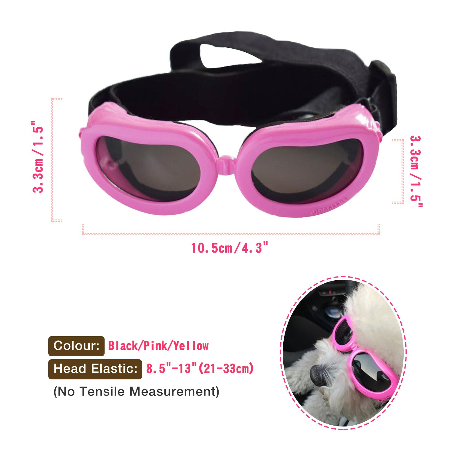 Kailian /® Cute and Stylish Goggles Waterproof Anti-ultraviolet Sunglasses For Cats or Small Dogs-Pink