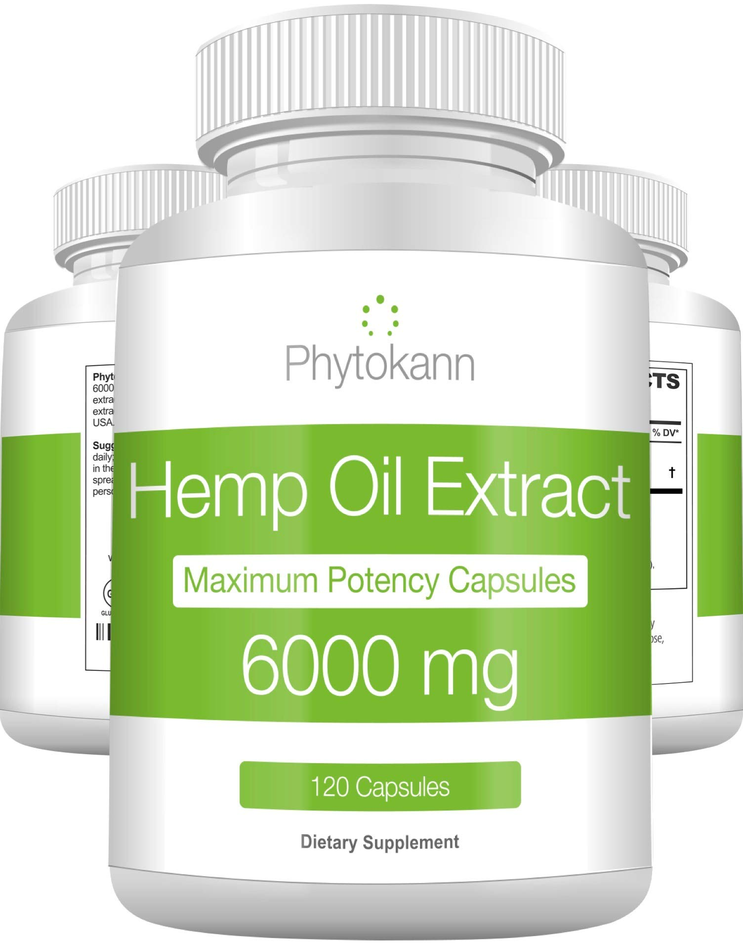 Hemp Oil Capsules 6000 MG - Best Hemp Extract for Pain Relief with Omega 3 6 9-100% Organic Hemp Oil for Pain - Hemp Capsules for Natural Anxiety Relief and Immune Support - Made in USA by Phytokann