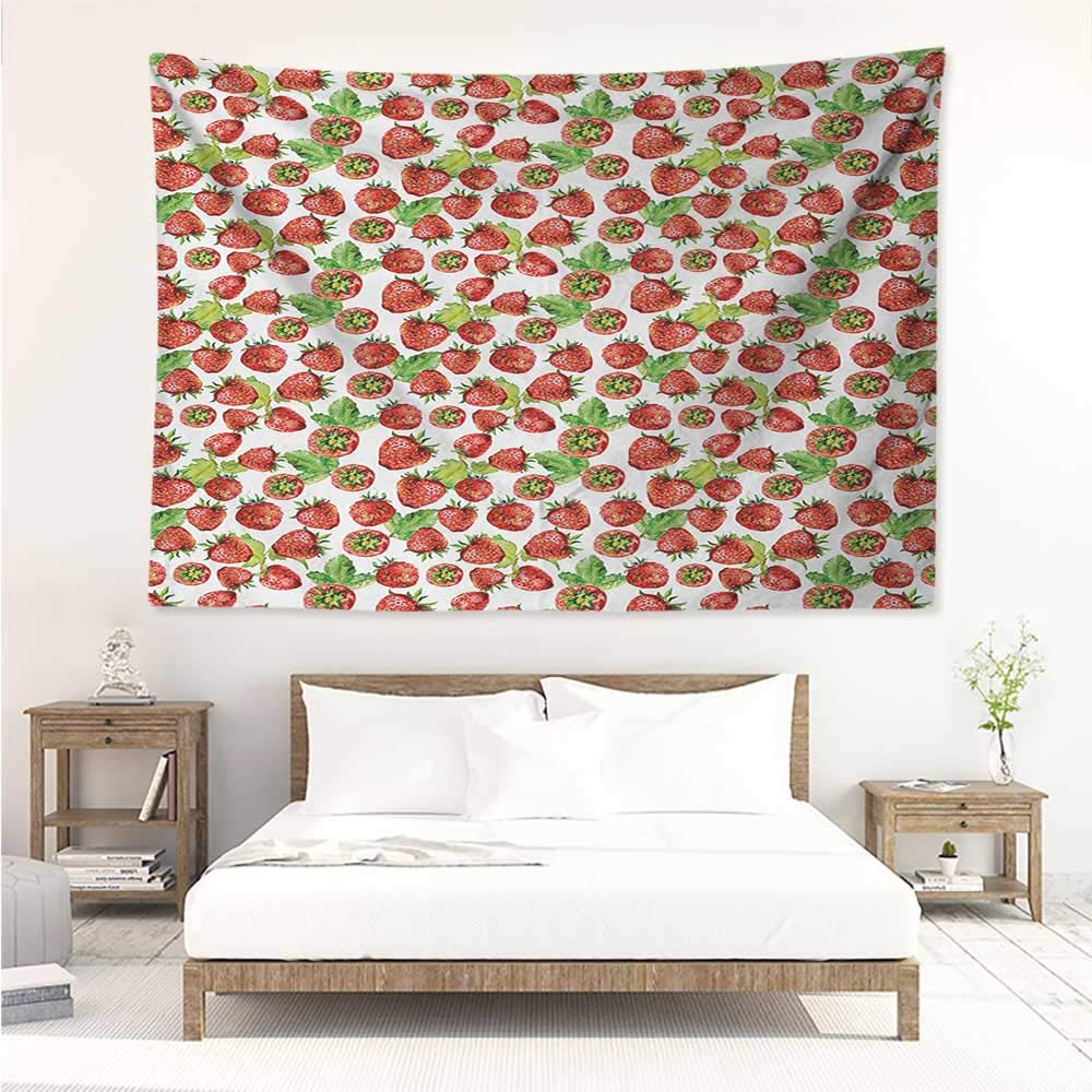 alisos Kitchen,Home Decor Tapestry Vibrant Strawberry Figures Watercolor Stylized Yummy Cute Sweet Fruits Artwork 60W x 51L inch Printed Wall Hanging Lime Green Red