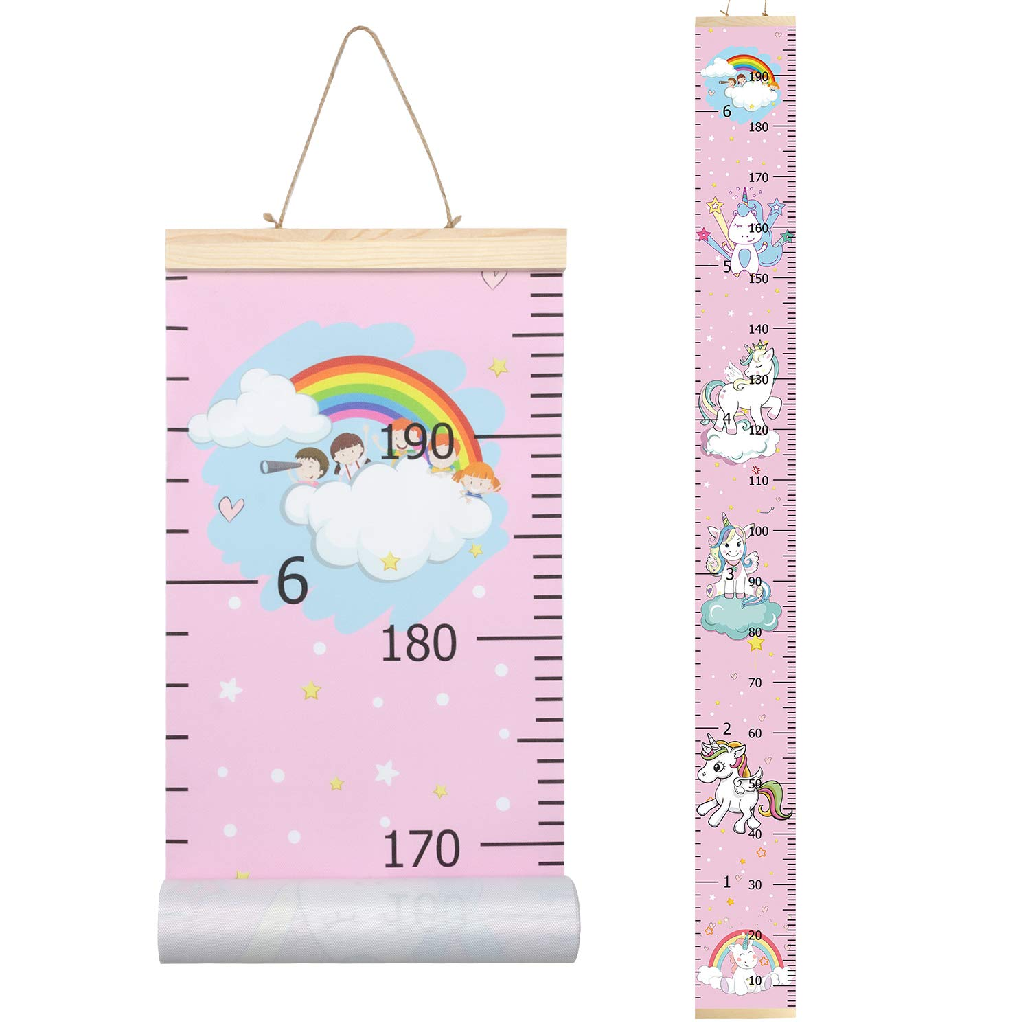 PASHOP Kids Airplane Car Growth Chart Baby Roll-up Wood Frame Canvas Fabric Removable Height Growth Chart Wall Art Hanging Ruler Wall Decor for Nursery Bedroom 79 x 7.9 Inch Airplane Car