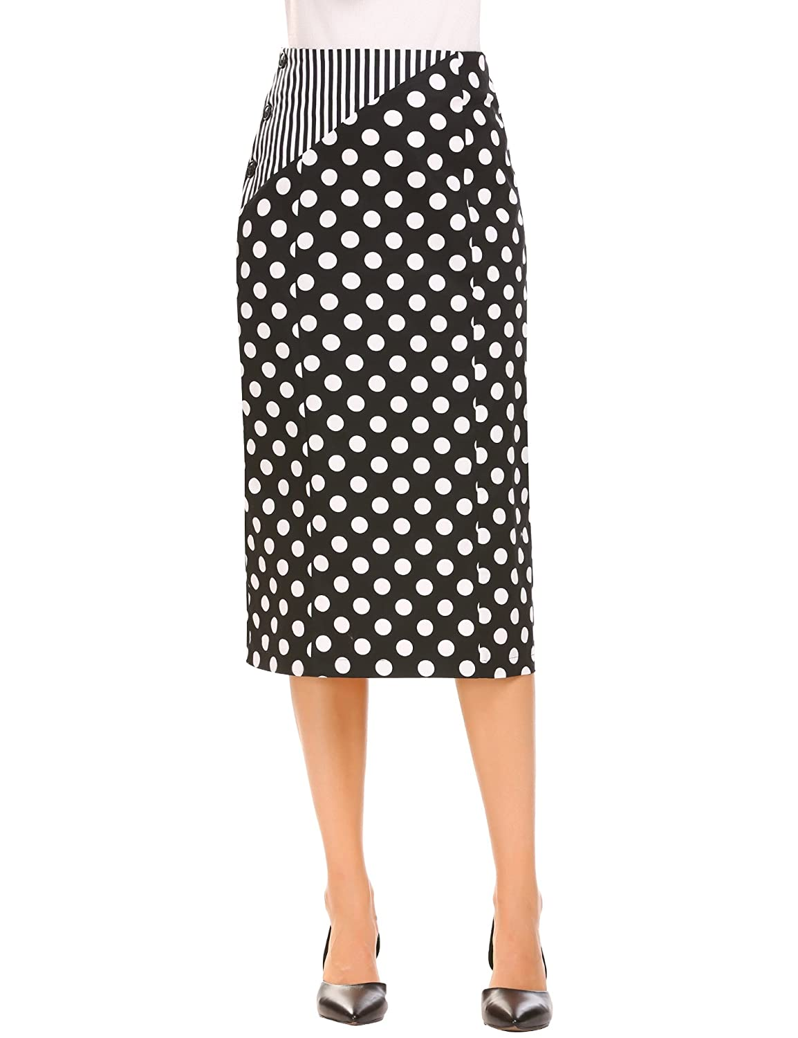 86876df0660d ❣High Quality Lightweight Fabric: This Pencil Skirt is made from 97%  Cotton, 3% Spandex ❣High Waist Pencil Skirt, Slim Fit, Patchwork, Side  Button closure