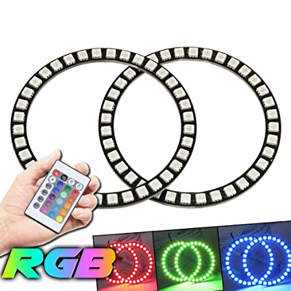 Amazon.com: Qiuko 4pcs 80mm LED Angel Eyes Ring Multi-Color RGB 16 ...