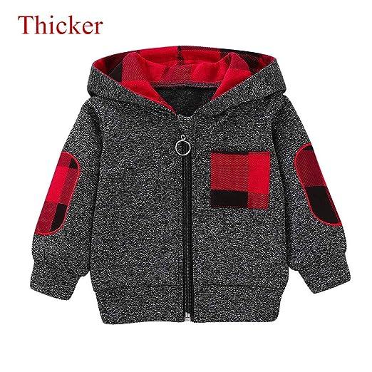 333805565c6 KONFA Toddler Baby Boys Girls Stylish Plaid Floral Pocket Hooded Coat