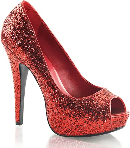 Womens Red Glitter Peep Toe Pumps