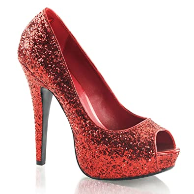 Amazon.com | Womens Red Glitter Peep Toe Pumps Sparkly Shoes with ...