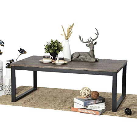 Aingoo Industrial Style Coffee Cocktail Table With Black Metal Frame For  Living Room,Office,