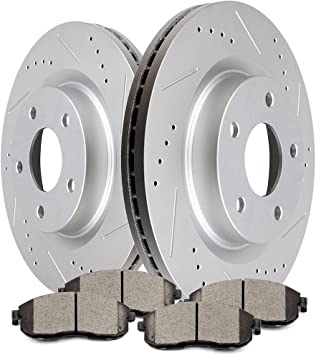 Max Brakes Front /& Rear Elite Brake Kit KT045483 E-Coated Slotted Drilled Rotors + Ceramic Pads Fits: 2014 14 2015 15 Fits Nissan Rogue Select