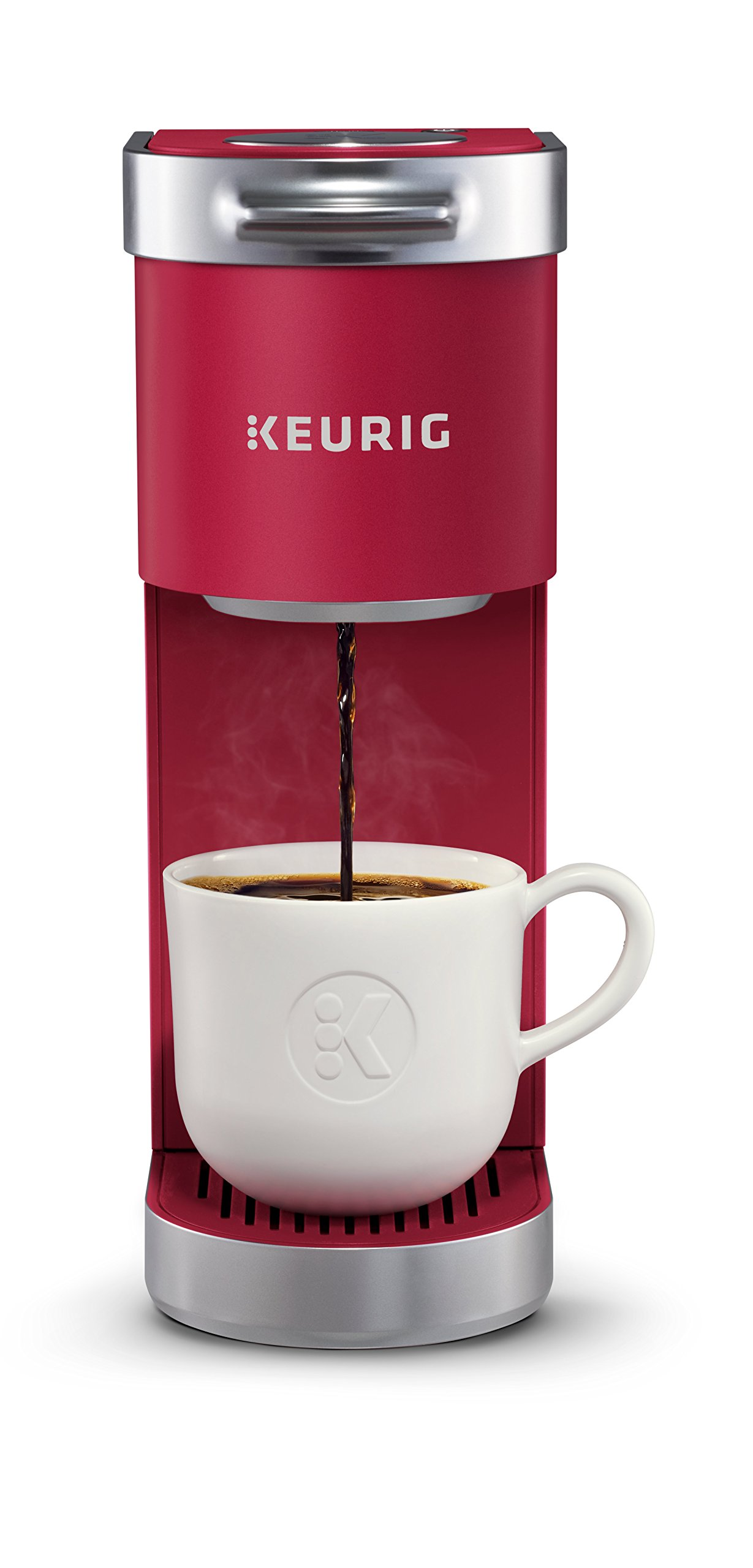 Keurig K-Mini Plus Single Serve K-Cup Pod Coffee Maker, with 6 to 12oz Brew Size, Stores up to 9 K-Cup Pods, Travel Mug Friendly, Cardinal Red