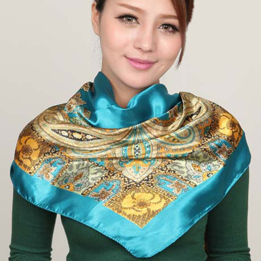 Vinmax Classical Pattern Large Square women girl Scarf Silk Scarves Elegant Scarves (Blue)