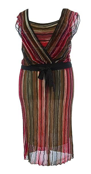 Marina Rinaldi by MaxMara Ottano Black/Red Striped Knit Dress M