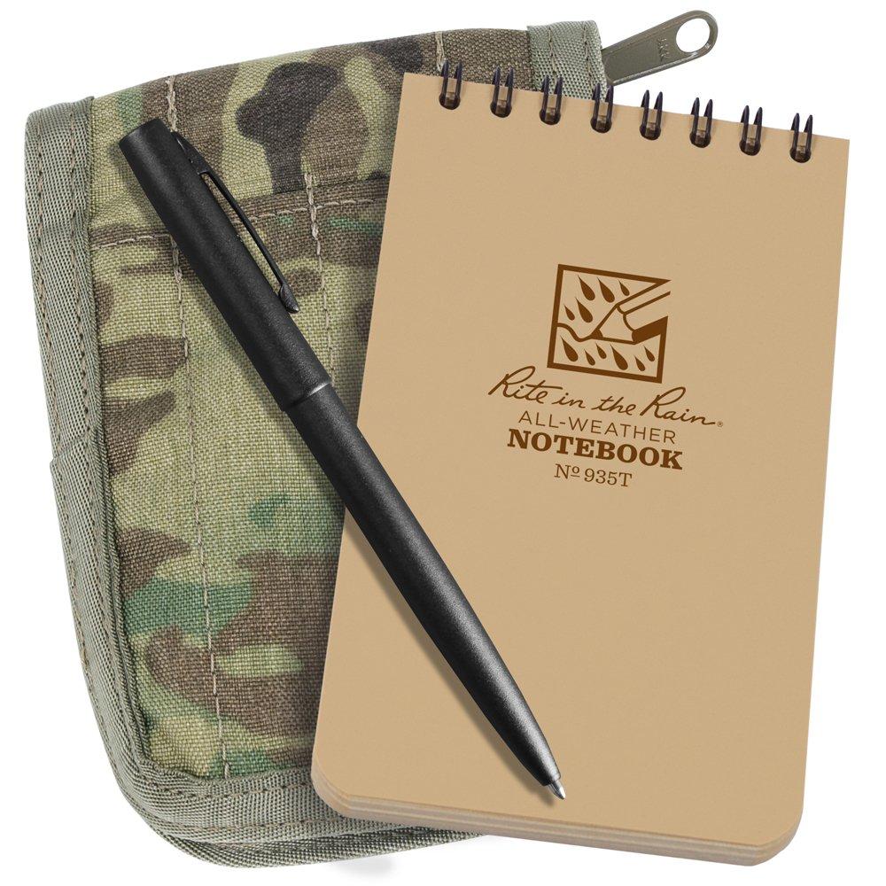 Rite in the Rain Weatherproof 3'' x 5'' Top-Spiral Notebook Kit: MultiCam CORDURA Fabric Cover, 3'' x 5'' Tan Notebook, and Weatherproof Pen (No. 935M-KIT)