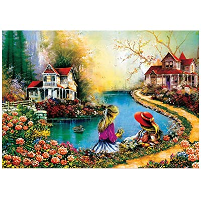 Paper Jigsaw Puzzle 1000 Pcs, Ecstasi Nature Lake Little Girl Attic Flower Landscape Gift for Boy and Girl Age 8+ and Adults Brain Teaser Toy: Home & Kitchen
