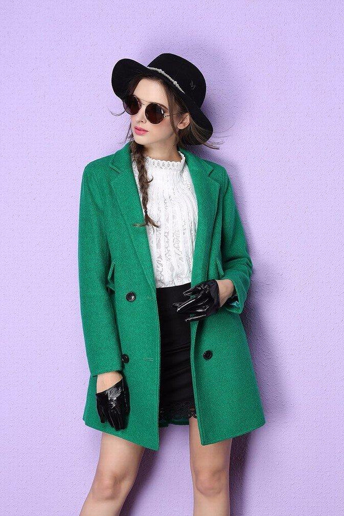 Vert L WYF Veste de Style Britannique à Double Boutonnage dans Le Long Paragraphe D'Elle