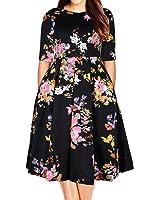 Samtree Women's Plus Size Floral 3/4 Sleeve...