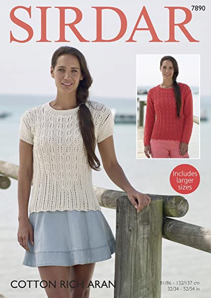 4d31433ad81e Sirdar 7890 Knitting Pattern Womens Long   Short Sleeved Sweaters in Sirdar  Cotton Rich Aran  Amazon.co.uk  Kitchen   Home