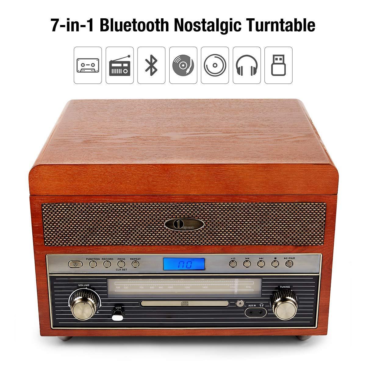 Amazon.com: 1 BY ONE - Tocadiscos con conectividad ...