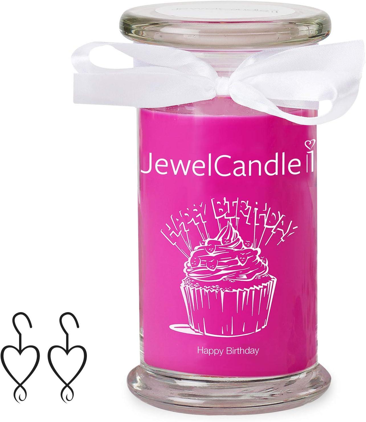 Bougie parfum/ée avec Bijou Surprise en Argent Boucles doreilles JewelCandle Happy Birthday
