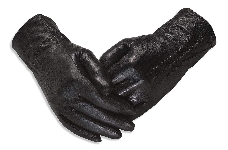 Quivano Luxus Echte SoftA Damen Leder Handschuhe f/ür den Winter-Amber Label Range