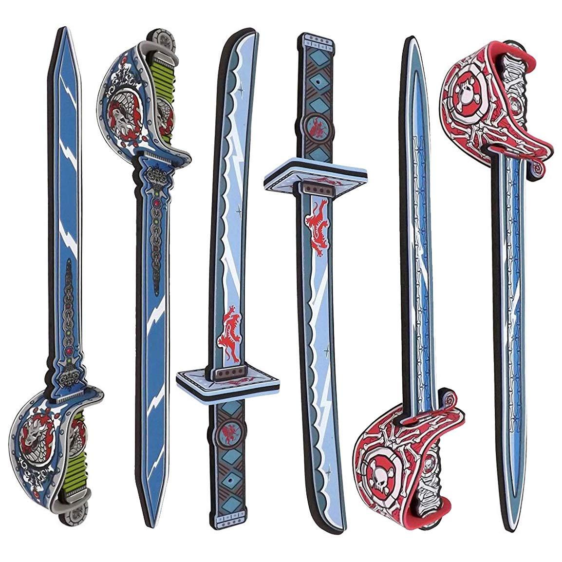 Liberty Imports Samurai Warrior and Pirate Foam Swords 6 Pack Large Toy Set  for Kids - 2 Katanas 4 Rapiers