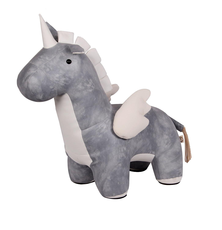 RM Design Grande de Piel Sintética Unicornio Asiento Animales Decoración Diseño Animal Peluche Azul Gris 69 cm