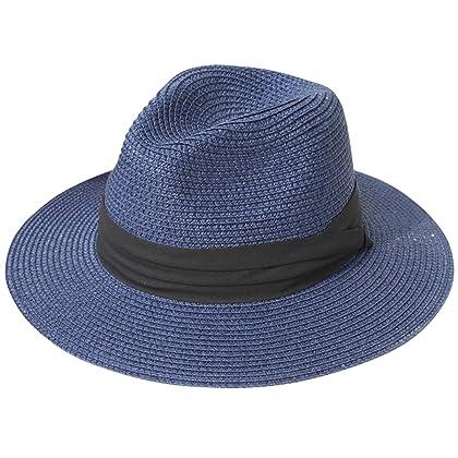 c560cd0691e92 Lanzom Women Wide Brim Straw Panama Roll up Hat Fedora Beach Sun Hat UPF50+  (Blue)