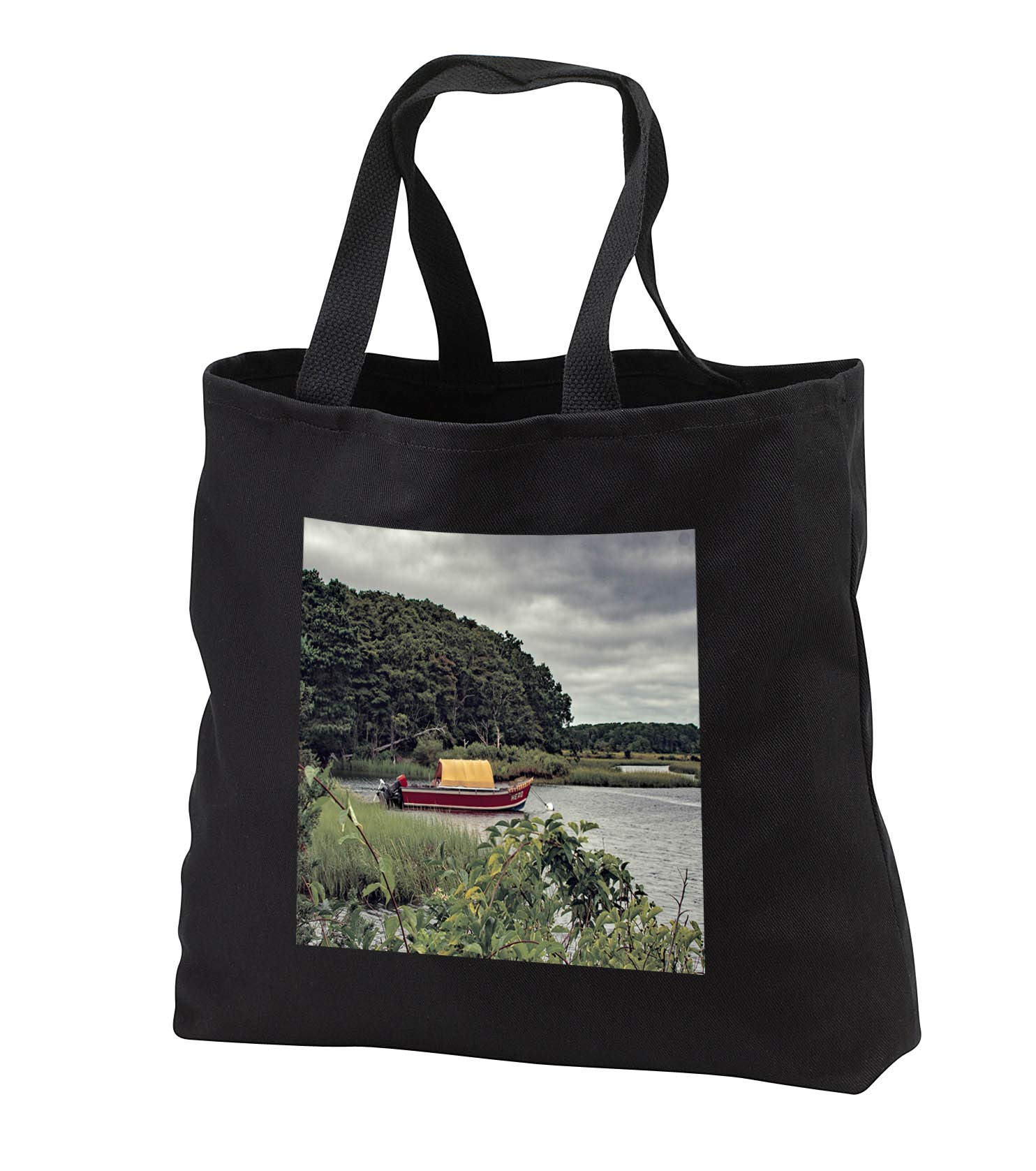 Roni Chastain Photography - Red boat - Tote Bags - Black Tote Bag 14w x 14h x 3d (tb_295327_1)