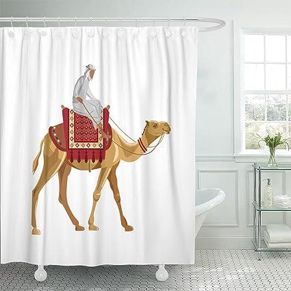 Amazon Emvency Shower Curtain Caravan Man Riding Camel White