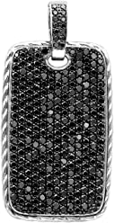Image result for Mens Dog Tag Diamond Pendant 14ctw in Sterling Silver by Luxurman