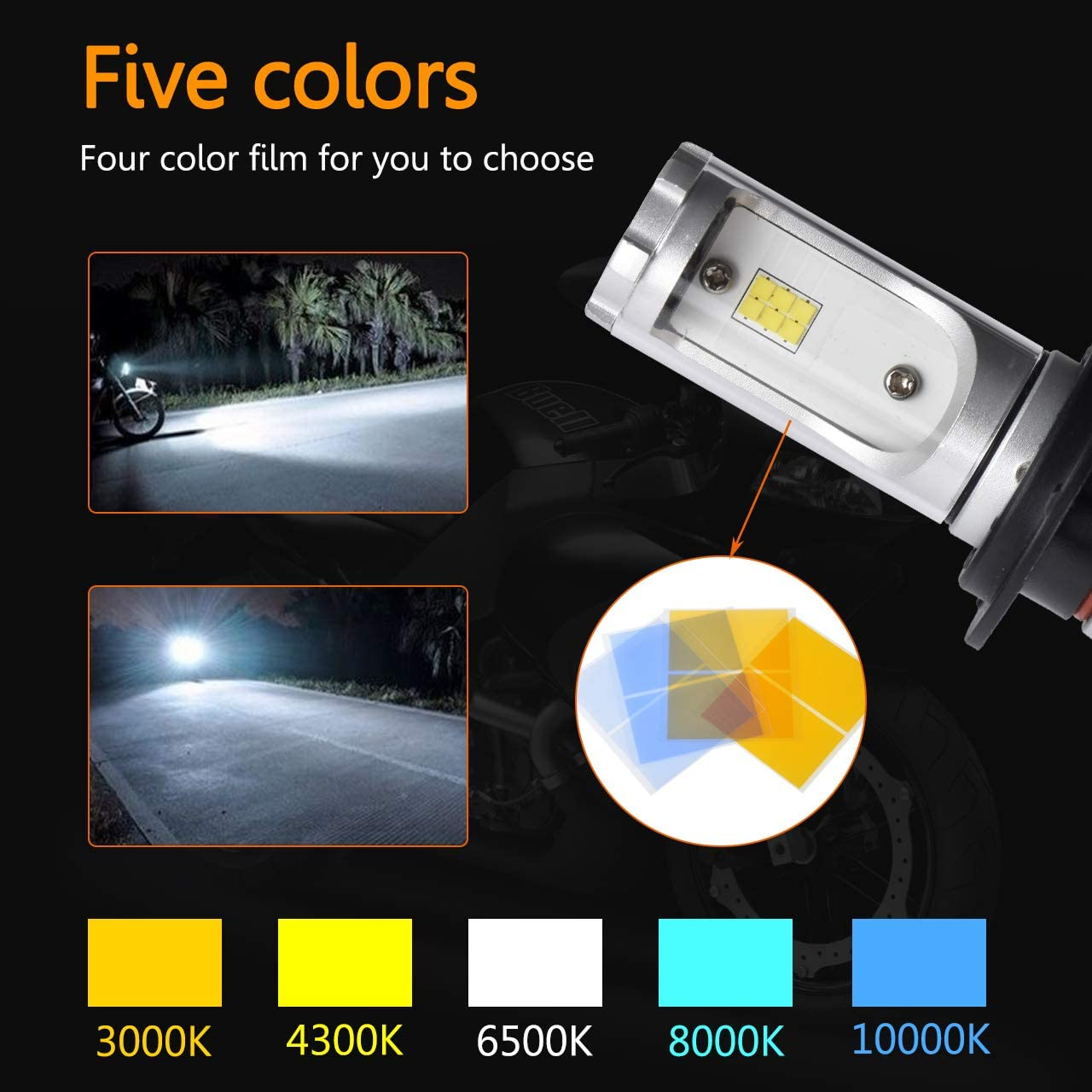 3000K//4300K//6500K//8000K//10000K 5000LM All-in-One High//Low Beam LED Headlight Bulb Replacement DOT Approved H4//9003 LED Motorcycle Headlight Bulb Five DIY Color Options Universal Conversion Kit