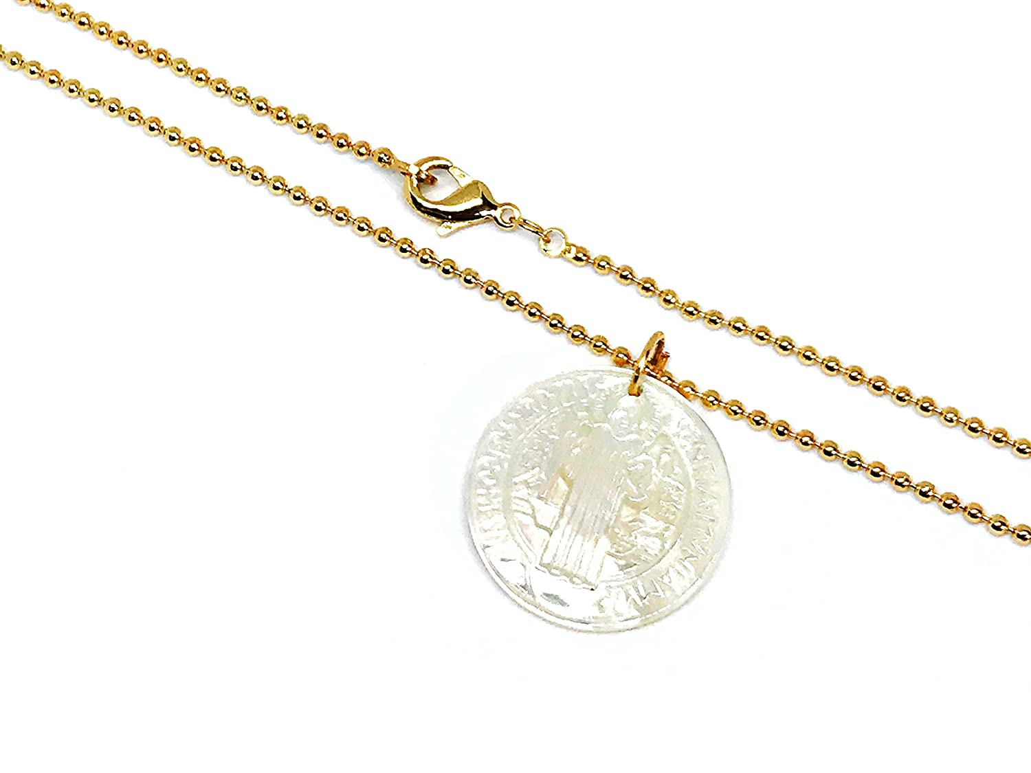LESLIE BOULES Saint Benedict Mother of Pearl Medal Necklace 18K Gold Plated Chain