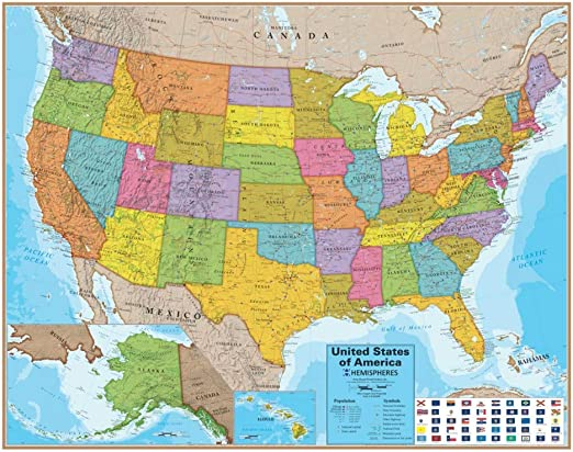 Amazon Com Round World Products Laminated Us Map Usa Maps Posters Prints